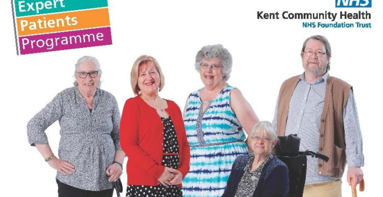 Five older people smiling at the camera. The text in the image says,