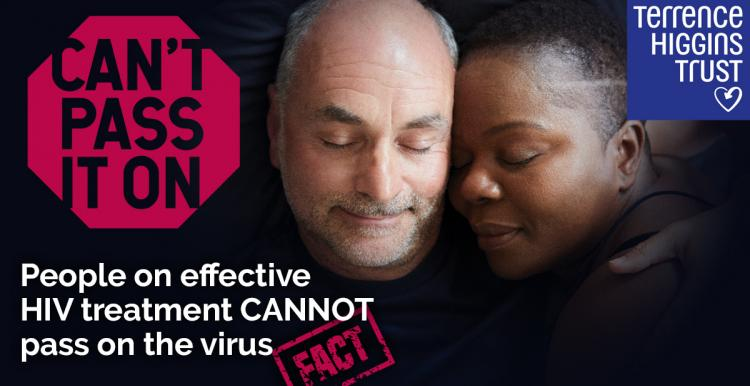 "Image of a man and a woman cuddled together. The text says ""I'm on effective treatment meaning HIV is undetectable in my blood, so I can't pass it on to anyone else""."