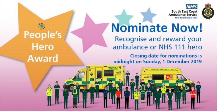 Image of SECAmb's nomination promo poster.  It has an illustration of members of Ambulance and NHS 111 staff. standing next to a huge star with the text,