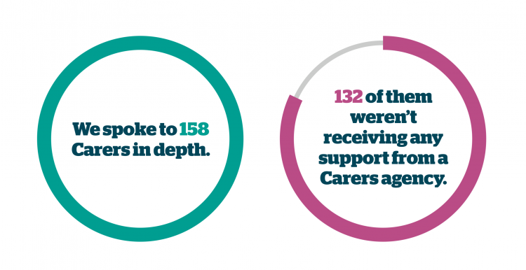 Pie chart of showing the amount of hidden carers we spoke to. The graph says