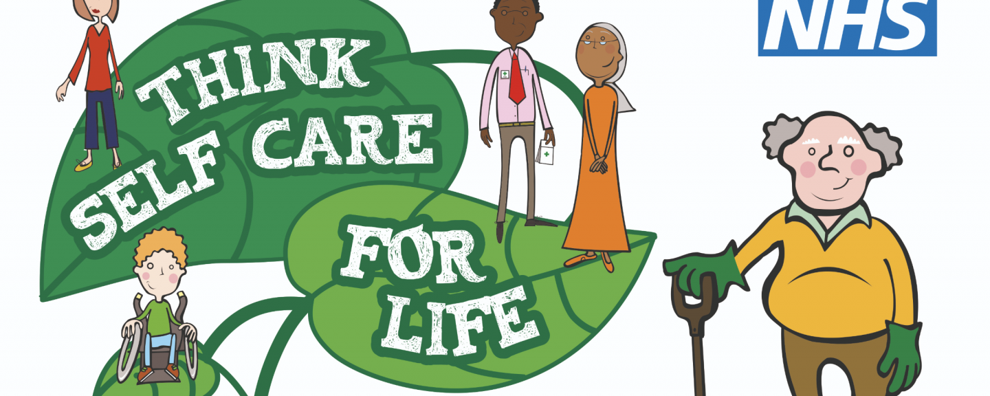 The poster for Self Care Week. It shows people looking after themselves, withe text of leaves saying