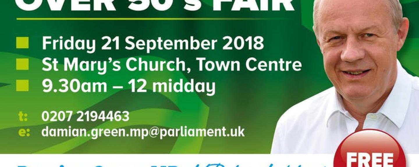 Damien Green's Ashford Over 50's Fair poster
