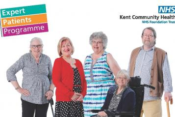 "Five older people smiling at the camera. The text in the image says, ""Expert patient programme"","