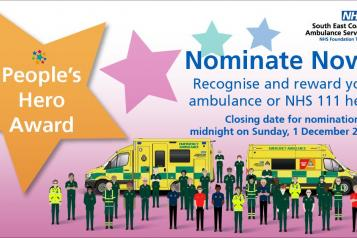 "Image of SECAmb's nomination promo poster.  It has an illustration of members of Ambulance and NHS 111 staff. standing next to a huge star with the text, ""People's Hero Award""."