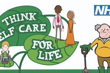 "The poster for Self Care Week. It shows people looking after themselves, withe text of leaves saying ""think self care for life""."