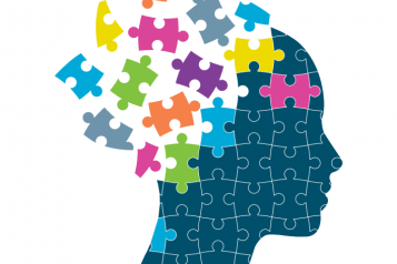 Front cover of the report on Children and Adolescent Mental Health Services in Kent. The image is a silhouette of a persons head made up of jigsaw puzzle pieces.