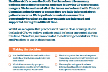 Cover of the checklist for patient support during GP closures and mergers