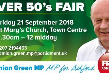 Damien Green's Ashford Over 50's Fair poster