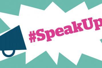 """An illustration of a megaphone shouting """"#speak up"""""""