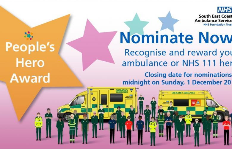 """Image of SECAmb's nomination promo poster.  It has an illustration of members of Ambulance and NHS 111 staff. standing next to a huge star with the text, """"People's Hero Award""""."""