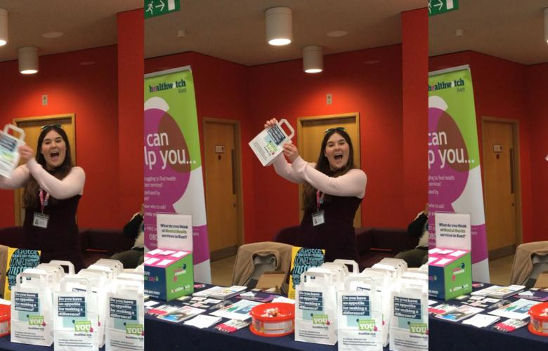 Healthwatch Kent's stall packed with goodies for World Mental Health Day 2019