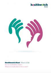 Front cover of the focus on hidden carers. The illustration shows two large hands protectively surrounding a head.