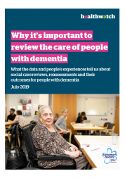 Dementia report front cover shows an older woman sitting in a wheelchair at a care centre.