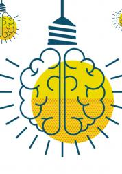 An illustration of a brain-looking light bulb switched on.