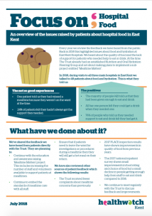 First page of the 'Focus on Hospital Food' report