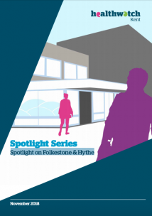 Folkestone spotlight report front cover. Front cover shows two people walking into a council building.