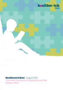 Front cover of the Healthwatch Kent's Report on the The reality of autism for young people and their families in Kent. The illustration shows a child reading a book under a tree. The sky is made up of puzzle pieces.