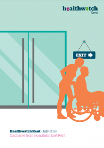 The front cover of the discharge report for east kent. The image is of a person being pushed in a wheelchair to the discharge lounge.